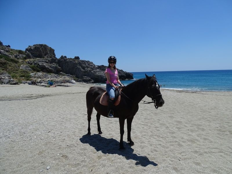Horseback riding at Damnioni beach Crete