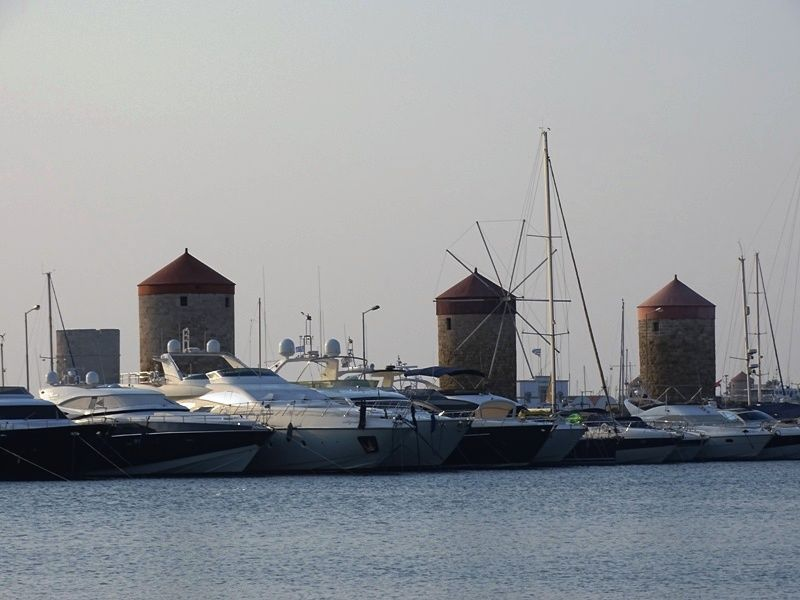 The three windmills at Mandraki harbour Rhodes