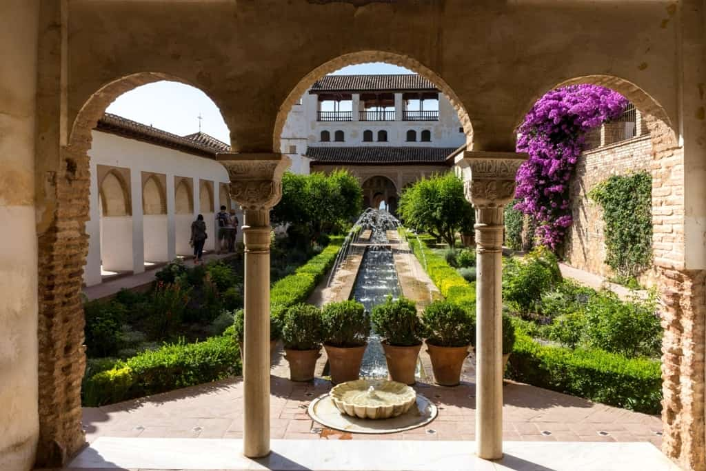 View of The Generalife courtyard, with its famous fountain