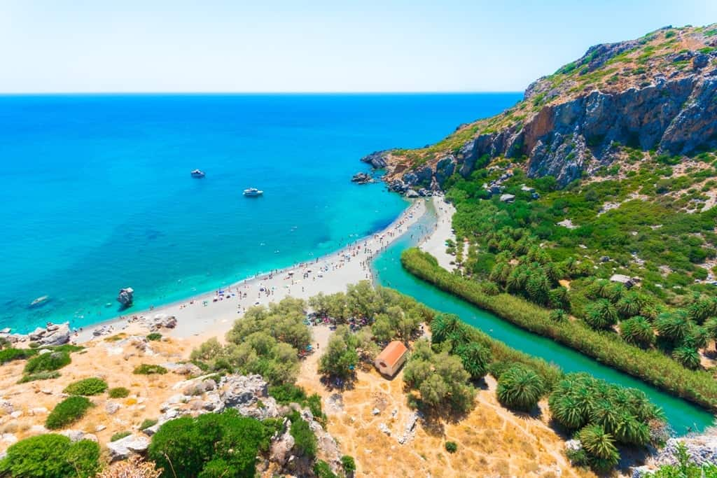 Panorama of Preveli beach - things to do in Crete