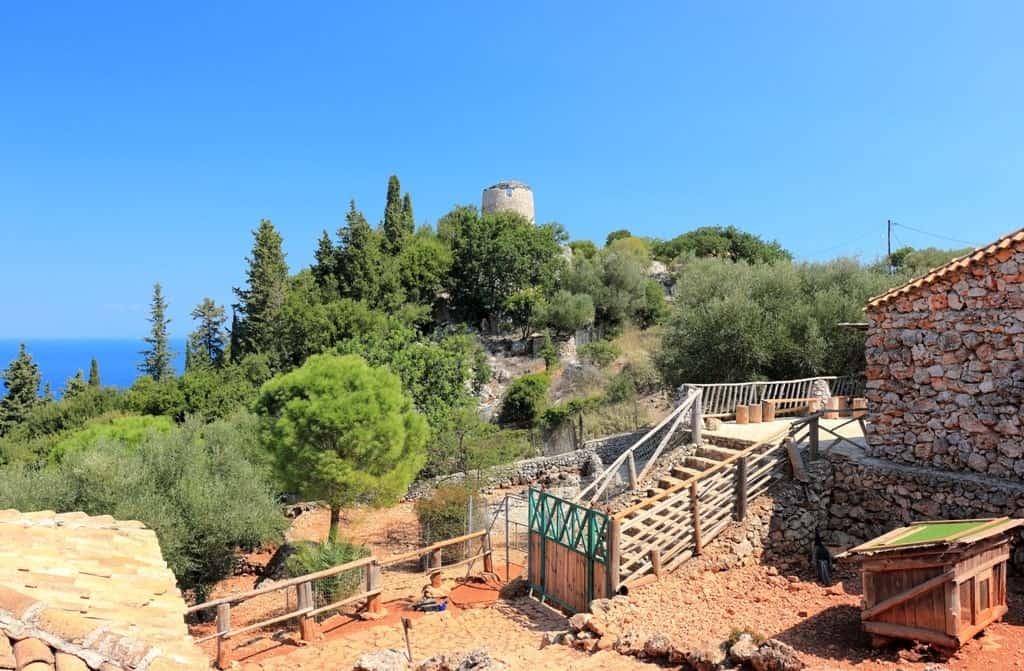 Old windmill in Askos Stone Park. Volimes, Zakynthos