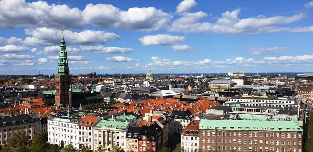 view from the tower of Christiansborg Palace
